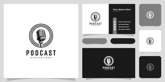 Szablon logo w stylu retro podcast