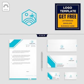 Szablon logo wakacje i bezpłatny papier firmowy, koperty, wizytówki