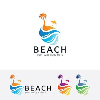 Szablon logo wakacje na plaży