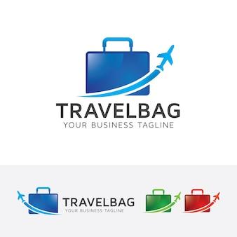 Szablon logo wakacje torba podróżna