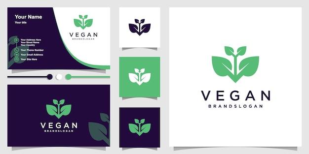 Szablon logo wegańskiego z kreatywną unikalną koncepcją premium wektor