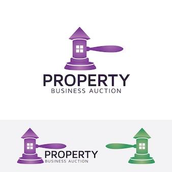 Szablon logo wektor aukcji nieruchomości