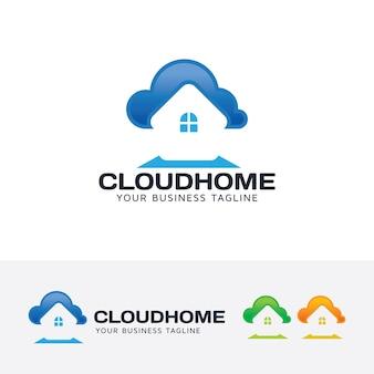 Szablon logo wektor domu w chmurze