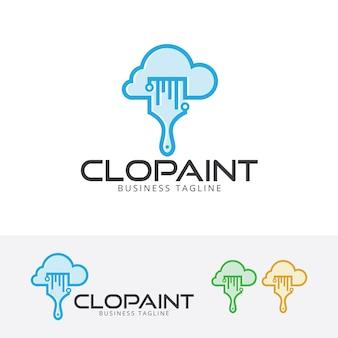 Szablon logo wektor farby w chmurze