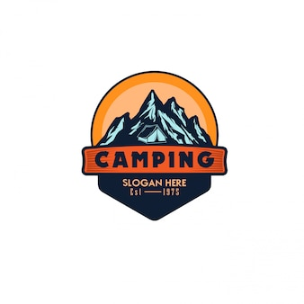 Szablon logo wektor ilustracja kemping