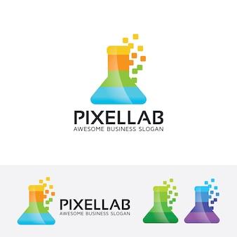 Szablon logo wektor kolor pixel lab