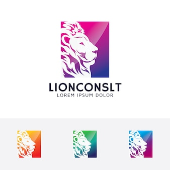Szablon logo wektor konsultacji lwa