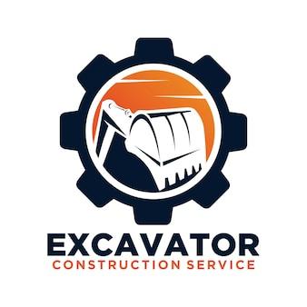 Szablon logo wektor koparka. logo koparki. koparka na białym tle. koparka, budowa, koparko, ikona biznesu budowlanego. elementy konstrukcyjne sprzętu budowlanego.