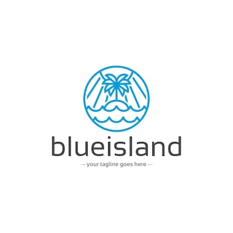 Szablon logo wektor liniowy wyspy natury