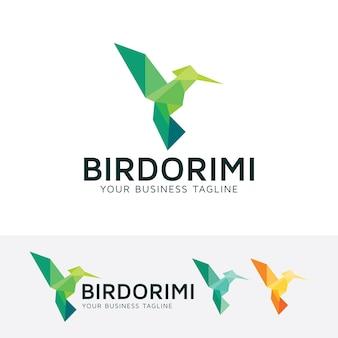 Szablon logo wektor origami ptak