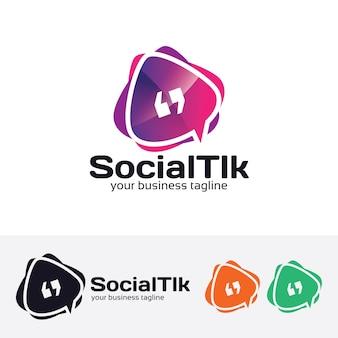 Szablon logo wektor rozmowy społecznej aplikacji