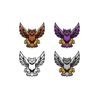 Szablon logo wektor sowa odpowiedni dla maskotki logo