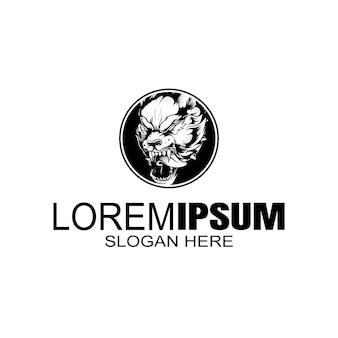 Szablon logo wilk w stylu vintage logo.