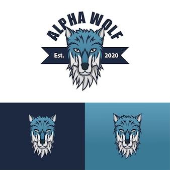 Szablon logo wilka alfa wektor premium