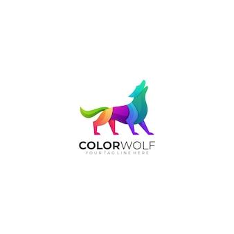 Szablon logo wilka gradient kolorowy