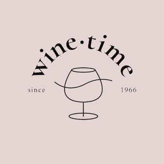 Szablon logo winiarni z minimalną ilustracją kieliszek do wina