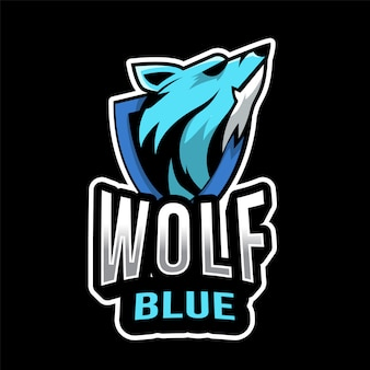 Szablon logo wolf blue esport