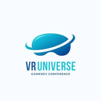 Szablon logo wszechświata wirtualnej rzeczywistości.