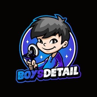 Szablon logo z detalami dla chłopca