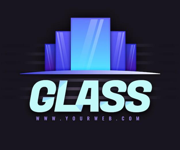 Szablon logo z kolorowego szkła gradientowego