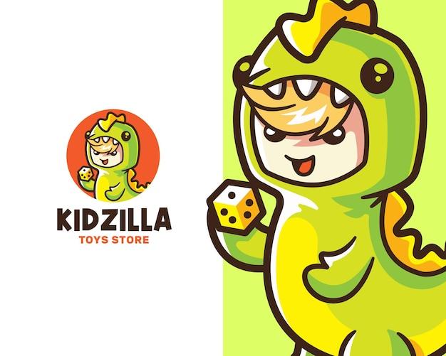 Szablon logo zabawny dzieciak noszący kostium godzilli