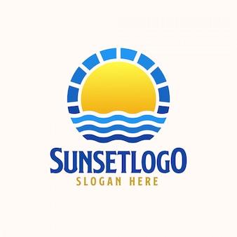 Szablon logo zachód słońca. logo wektor