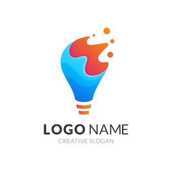 Szablon logo żarówki i wody, nowoczesny styl logo w gradientowym kolorze niebieskim i pomarańczowym