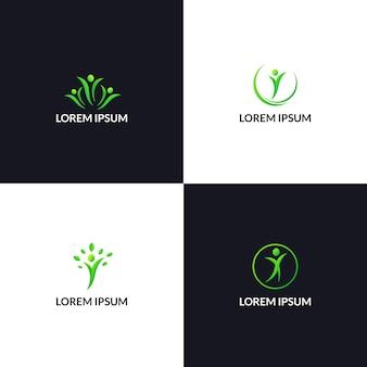 Szablon logo zdrowego życia ludzie dbają