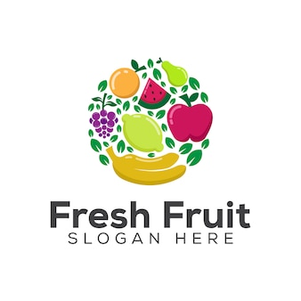 Szablon logo zdrowej żywności lub diety świeże owoce
