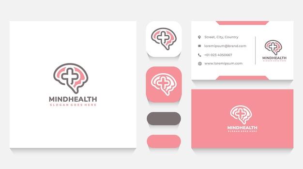 Szablon logo zdrowia umysłu i wizytówka