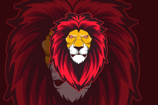 Szablon logo zespołu e-sport głowy lwa