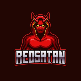 Szablon logo zespołu maskotka czerwony szatan e-sport