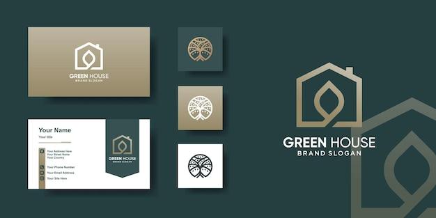 Szablon logo zielonego domu z nowoczesną koncepcją i projektem wizytówki