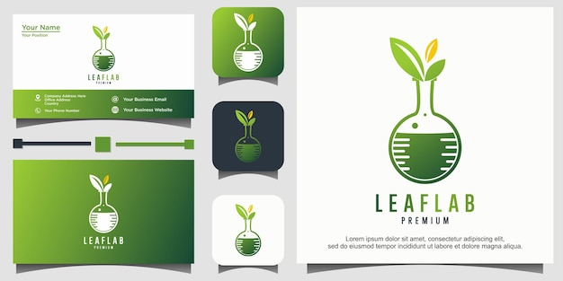 Szablon logo zielonego laboratorium nature lab glass
