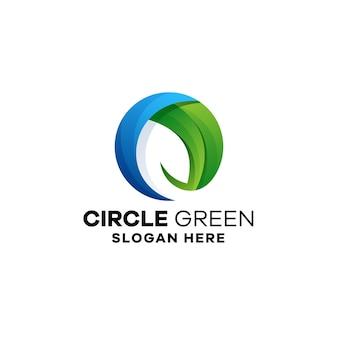 Szablon logo zielonego okręgu gradientowego