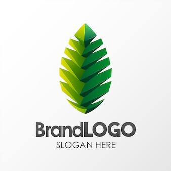 Szablon logo zielony liść marki