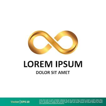 Szablon logo złota nieskończoność