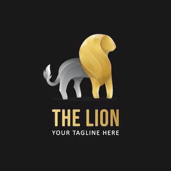 Szablon logo złoty lew. gradientowe logo zwierząt w stylu