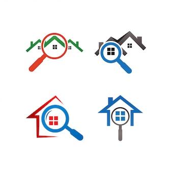Szablon logo znajdowania domu nieruchomości