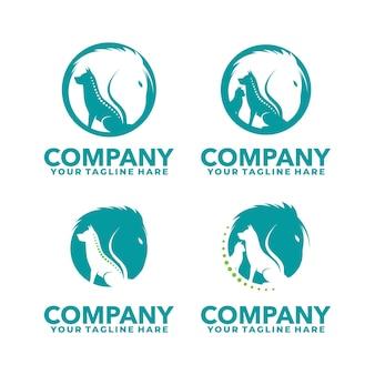 Szablon logo zwierzęcia medycznego konia psa i kota