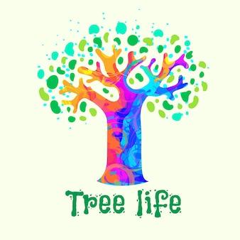 Szablon logo życia drzewa akwarela