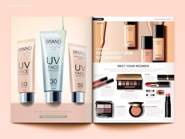 Szablon magazynu kosmetycznego, broszura o trendach w makijażu mody z podkładem, kremami przeciwsłonecznymi i produktami cieni do powiek w ilustracji 3d