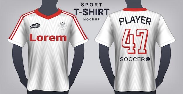Szablon makiety koszulki piłkarskiej i sportowej.