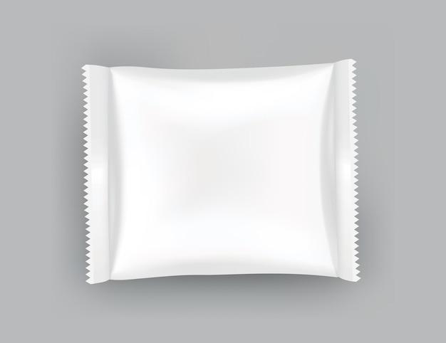 Szablon makiety opakowania lub etui. realistyczne błyszczące puste opakowanie doy, przekąski z chipsami, opakowanie cukierków lub opakowanie produktu kosmetycznego. szablon opakowania plastikowego gotowy do brandingu