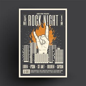 Szablon makiety ulotki plakat rock night party na imprezę w klubie nocnym, wydarzenie muzyczne lub koncert na żywo.