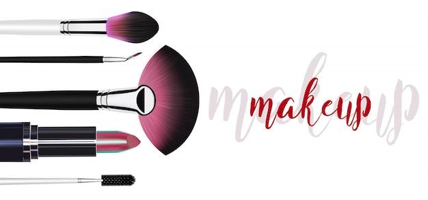 Szablon makijaż kosmetyczny z pędzle do różu.