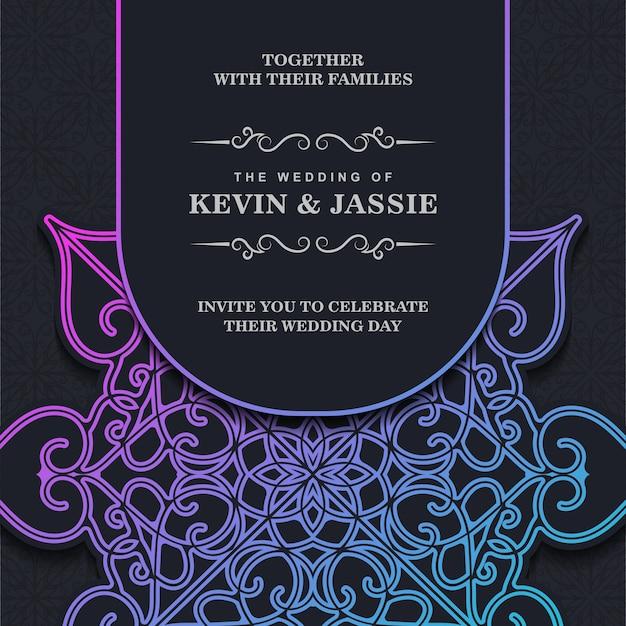 Szablon mandali zaproszenia ślubne gradientu