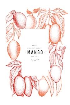 Szablon mango ręcznie rysowane zwrotnik owoców ilustracja.