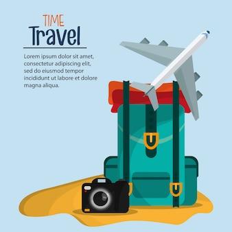 Szablon marketingowy broszury podróży w czasie
