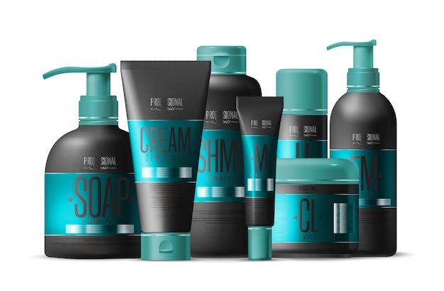 Szablon marki kosmetycznej, realistyczny zestaw butelek,